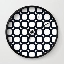 RoundSquares Black on White Wall Clock
