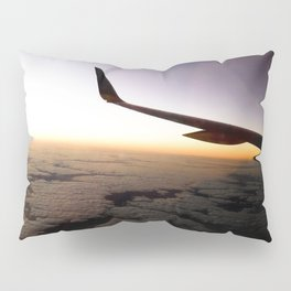 Airplane Wing Window Seat View of Horizon at Dusk Pillow Sham