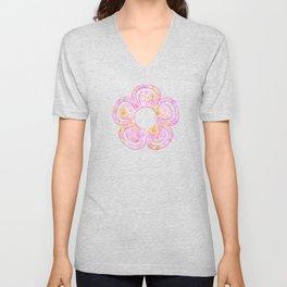 Pastel Patchwork Flower Garden, Soft Lavender, Lilac Purple and Pink Floral Quilt Repeat Pattern Unisex V-Neck