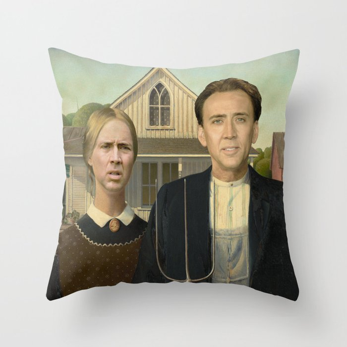 American Gothic Nicholas Cage Face Swap Throw Pillow