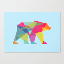 Fractal Bear - neon colorways Canvas Print