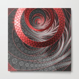 Beautiful Silver and Red Fractal Vampire Scales Metal Print