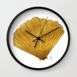 Chic Trendy Elegant Gold Scalloped Sea Shell from Aroon Melane Wall Clock