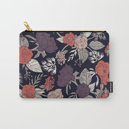 Purple, Gray, Navy Blue & Coral Floral/Botanical Pattern Carry-All Pouch