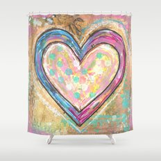 blue and pink hearts Shower Curtain