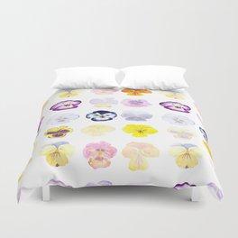 colorful pansies watercolor painting Duvet Cover