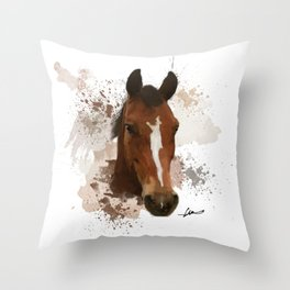 Brown and White Horse Watercolor Throw Pillow
