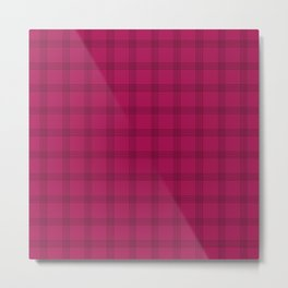 Black Grid on Dark Pink Metal Print