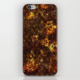 Diamond Rose Pattern - Maroon and Gold iPhone Skin