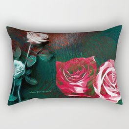 Roses Digital Art By Annie Zeno Rectangular Pillow