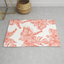 Tropical Palm Leaves Hibiscus Flowers Deep Coral Rug