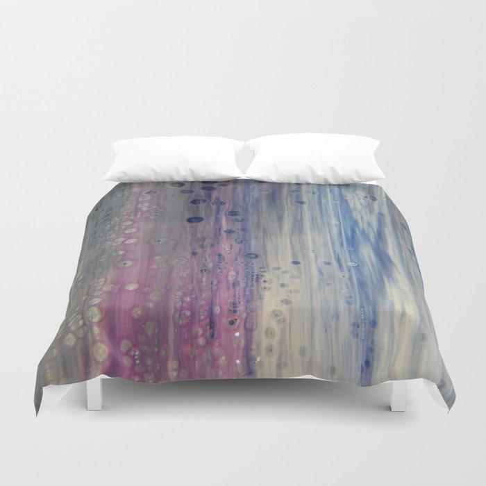 Rainbow Rain - Abstract Acrylic Art by Fluid Nature Duvet Cover
