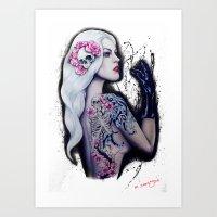 BEAUTY WEARS DEATH ON HER SHOULDER  Art Print