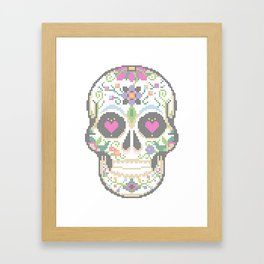 Create a Real Stitchery - Pixel Art - Day of the Dead, Cinco de Mayo, Calavera, Dia de los Muertos Framed Art Print