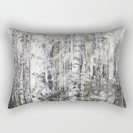 Abstract Silver Grunge Birch Rectangular Pillow