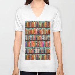 Vintage Books / Christmas bookshelf & holly wallpaper / holidays, holly, bookworm,  bibliophile Unisex V-Neck