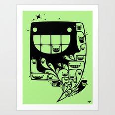 Happy Inside - 1-Bit Oddity - Black Version Art Print