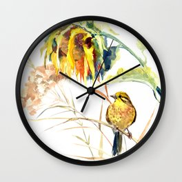 Yellow Bird and Sunflowers, Yellowhammer Wall Clock