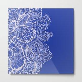 Mehndi Dark Blue Metal Print