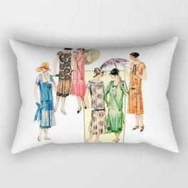 Vintage Flapper Fashion Dress Patterns Rectangular Pillow