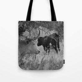 Oklahoma's Wild Longhorn // Black and White Tote Bag