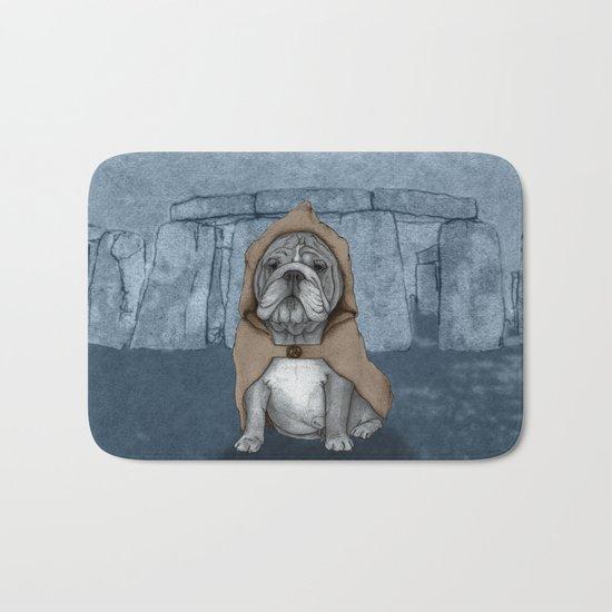 English Bulldog in Stonehenge Bath Mat