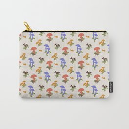 Playful Pattern with Mushrooms and Snails Carry-All Pouch