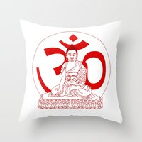 ohm Throw Pillows featuring OHM by Kyle Griffis Illustration