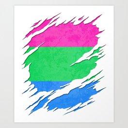 Polysexual Pride Flag Ripped Reveal Art Print