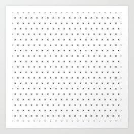 Black x cross geometric pattern Art Print