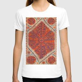Orange Wildflower Sunshine II // 18th Century Colorful Rusty Red Bright Blue Metallic Happy Pattern T-shirt