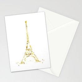 Digital-Art Eiffel Tower   golden Stationery Cards