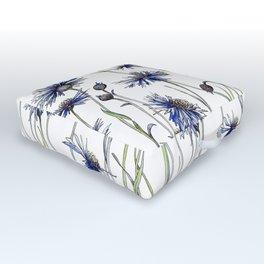 Blue Cornflowers, Illustration Outdoor Floor Cushion