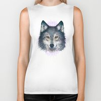 wolf Biker Tanks featuring Wolf by Laura Graves