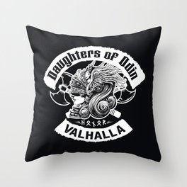 Daughters of Odin viking women - Sons of Odin parody Viking Norse Mythology for Shield Maiden Valkyr Throw Pillow