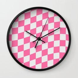 Pink & White Wavy Checkers Wall Clock