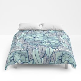 Teal Magnolias - a hand drawn pattern Comforters