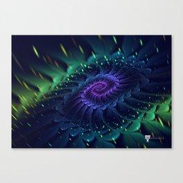 Psychedelic Fractal Bloom Spiral - Manafold Art Canvas Print