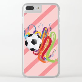 Soccer Ball with Brush Strokes Clear iPhone Case