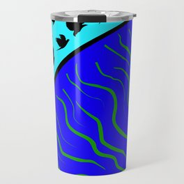 Flying Bird. Crows fly over planet Earth Travel Mug