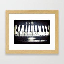 Broken Keys in Black and White Framed Art Print