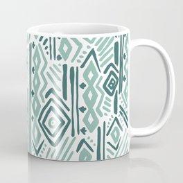 Abstract mauve green teal white tribal pattern Coffee Mug
