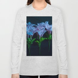 pink and blue flowers on black Long Sleeve T-shirt