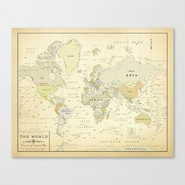 Vintage World Map Print Canvas Print
