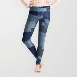 Boroboro Blue Jean Japanese Boro Inspired Patchwork Shibori Leggings