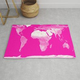 World Map Pink & White Rug