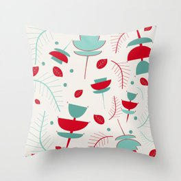 Spring floral mod ivory Throw Pillow