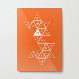 Orange Unrolled D20 Metal Print