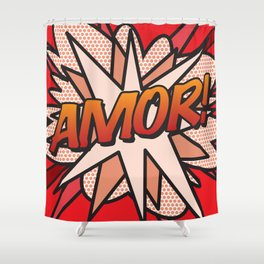 Comic Book AMOR! Shower Curtain