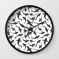 sharks Wall Clocks featuring Sharks by mjlomax